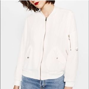 Zara Bomber Jacket White Medium